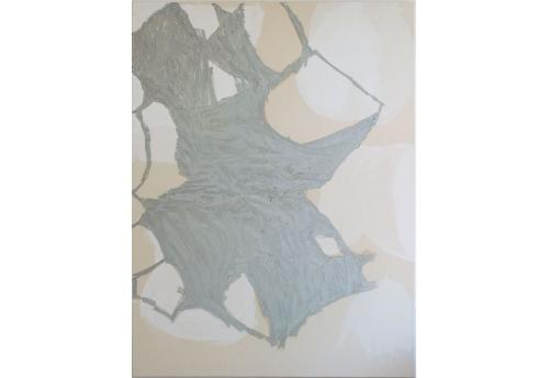 Untitled (cadmium/silver/white)